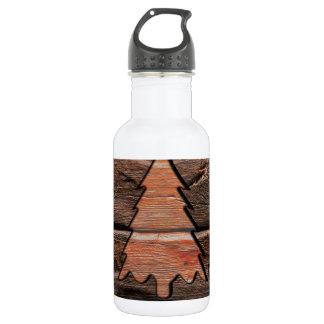 Rustikales Holz gravierte immergrüne Trinkflasche