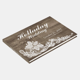 Rustikales Holz u. Vintages Spitze Wedding Gästebuch