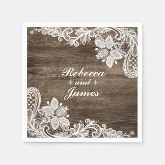 Rustikales Holz u. Vintages Spitze Wedding Papierservietten