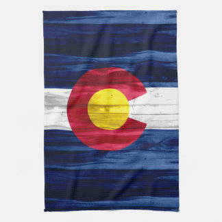 Rustikales hölzernes Colorado-Flaggenhandtuch Geschirrtuch
