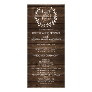 Rustikales hölzernes Hochzeits-Programm Individuelle Werbe Karte
