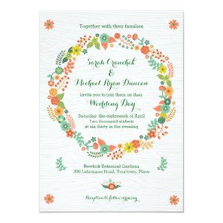 Rustikales hölzernes Korn-BlumenKranz-Hochzeit Einladung