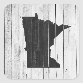 Rustikales hölzernes Minnesota Schwarzweiss Quadratischer Aufkleber
