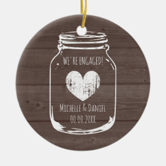 Rustikales hölzernes Vintages Maurerglas-Verlobung Keramik Ornament