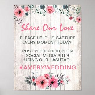 Rustikales hölzernes Wedding Hashtag Poster