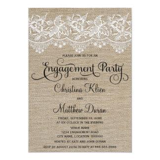 Rustikales Jutefaser-und Spitze-Verlobungs-Party 12,7 X 17,8 Cm Einladungskarte