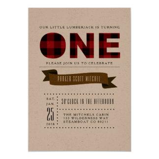Rustikales kariertes erstes Geburtstags-Party 12,7 X 17,8 Cm Einladungskarte