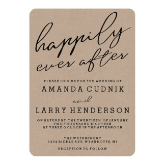 Rustic Kraft Happily Ever After Wedding Invitation