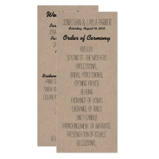 Rustikales Kraftpapier-Hochzeits-Programm Karte