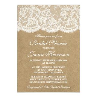 Rustikales Kraftpapier u. Vintages weißes 12,7 X 17,8 Cm Einladungskarte