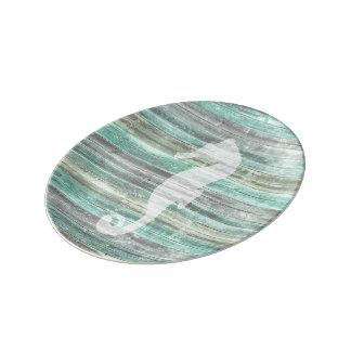 Rustikales Küstendekor-Seepferd Porzellanteller