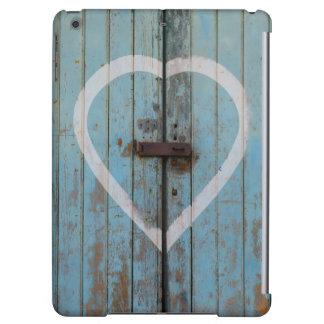 Rustikales Land-blaues Scheunen-Tür-Herz