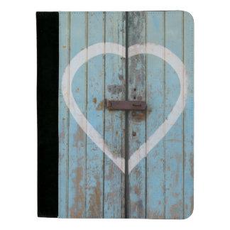 Rustikales Land-blaues Scheunen-Tür-Herz Padfolio