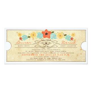 Rustikales Land-Blumenkarten-Tee-Längen-Einladung 10,2 X 23,5 Cm Einladungskarte