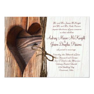 Rustikales Land-lädt hölzerne Herz-Schnur-Hochzeit 12,7 X 17,8 Cm Einladungskarte
