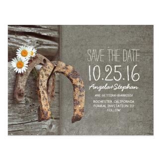 Rustikales Land Save the Date mit altem Hufeisen Postkarte