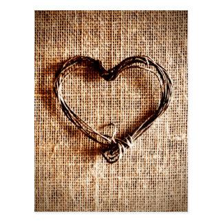 Rustikales Land-Schnur-Herz auf Leinwand-Druck Postkarte