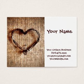 Rustikales Land-Schnur-Herz auf Leinwand-Druck Visitenkarte
