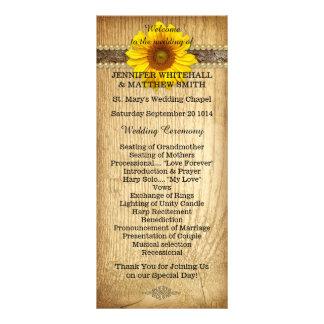 Rustikales Land-Sonnenblume-Hochzeits-Programm Karten Druck