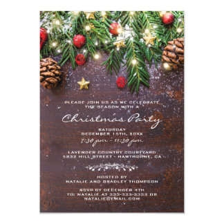 Rustikales Land-Weihnachtsfeiertags-Party Karte