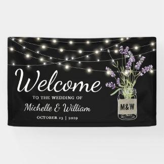 Rustikales Lavendel-Weckglas beleuchtet Hochzeit Banner