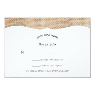 Rustikales Leinwand-Hochzeit UAWG Karte