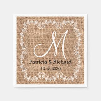 Rustikales Leinwand-Hochzeits-Monogramm Papierserviette