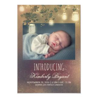 Rustikales Maurer-Glas beleuchtet Baby-Foto-Geburt 12,7 X 17,8 Cm Einladungskarte
