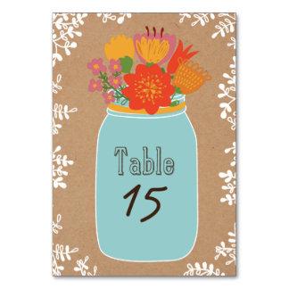 Rustikales Maurer-Glas mit Blumen auf