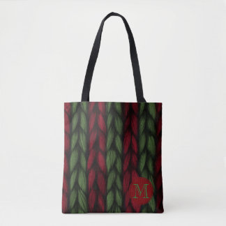 Rustikales Monogramm-rotes und grünes Tasche