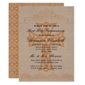 Rustikales Orangen-zuerst heilige Kommunions-Kreuz 14 X 19,5 Cm Einladungskarte