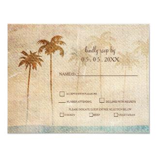 Rustikales Palme-Strand-Hochzeits-uAwg 10,8 X 14 Cm Einladungskarte