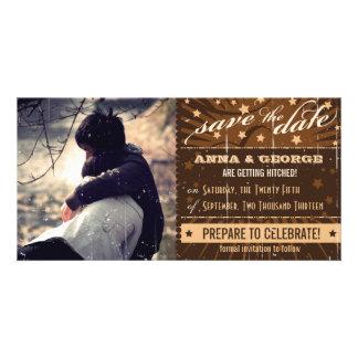 Rustikales Plakat: Creme-u. Brown-Gewohnheit Save  Foto Karten Vorlage