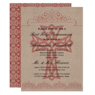 Rustikales Rosa-erste heilige Karte