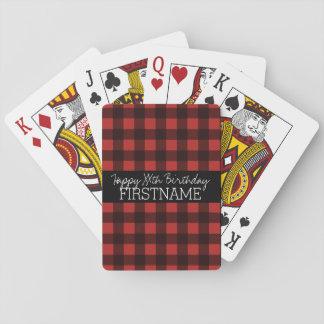 Rustikales roter u. schwarzer Büffel-kariertes Spielkarten