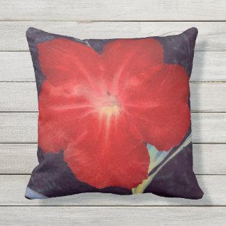 Rustikales rotes Blumen-Gesicht Kissen Für Draußen