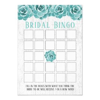 Rustikales saftiges BlumenBrautparty-Bingo Karte