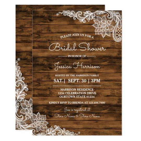 Rustikales Scheunen-Holz und 12,7 X 17,8 Cm Einladungskarte