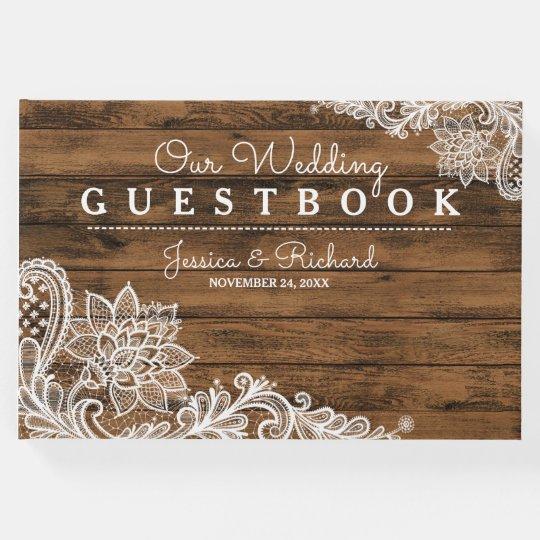 Rustikales Scheunen-Holz und Spitze Gästebuch