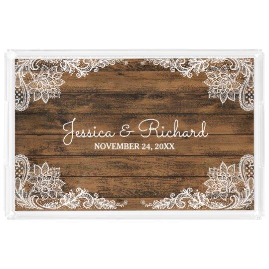 Rustikales Scheunen-Holz und Spitze-Hochzeit Acryl Tablett