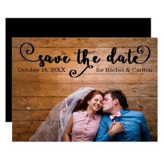 Rustikales schwarzes Foto - Save the Date Karte