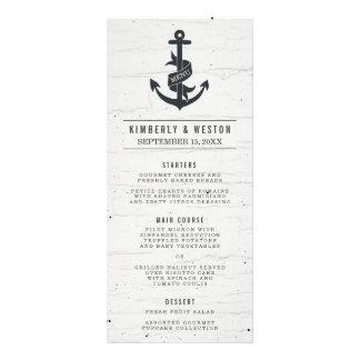 Rustikales Seehochzeits-Menü Werbekarte