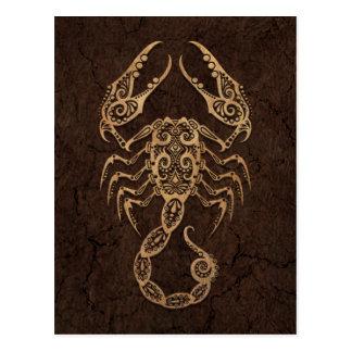 Rustikales Skorpions-Tierkreis-Zeichen auf Postkarte