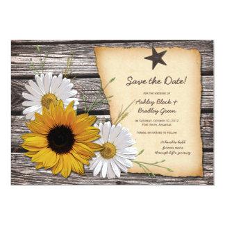Rustikales Sonnenblume-Gänseblümchen, das Save the Karte
