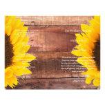 Rustikales Sonnenblume-Land-Hochzeits-Programm Flyer Druck
