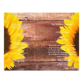 Rustikales Sonnenblume-Land-Hochzeits-Programm Flyer