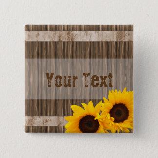 Rustikales Sonnenblume-Scheunen-Holz mit DIY Text Quadratischer Button 5,1 Cm