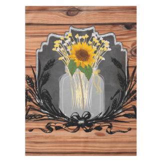 Rustikales Sonnenblume-Weckglas Tischdecke