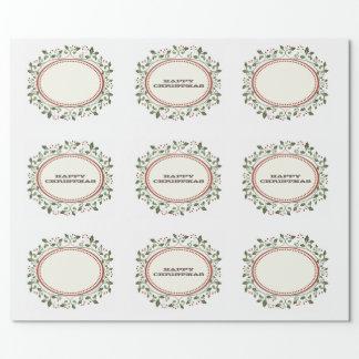 Rustikales Stechpalmen-glückliches Geschenkpapier
