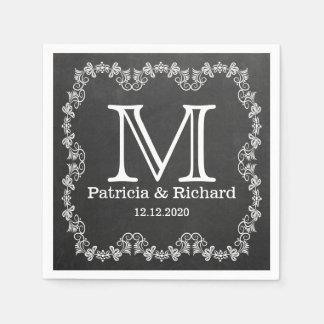 Rustikales Tafel-Hochzeits-Monogramm Papierserviette